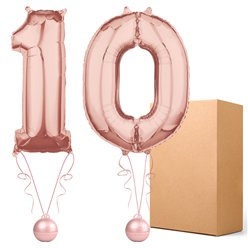 "Rose Gold  26"" Number 10  Bouquet - Delivered Inflated"