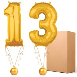 "Gold  26"" Number 13  Bouquet - Delivered Inflated"
