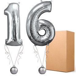 "Silver  26"" Number 16  Bouquet - Delivered Inflated"
