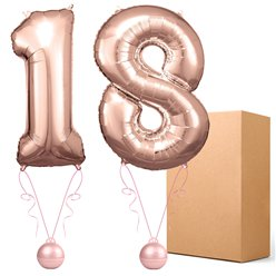 "18 Rose Copper 26"" Number Balloons - Delivered Inflated"