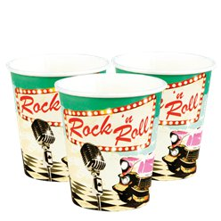 50s Classic Rock n Roll Party Cups - 250ml Paper