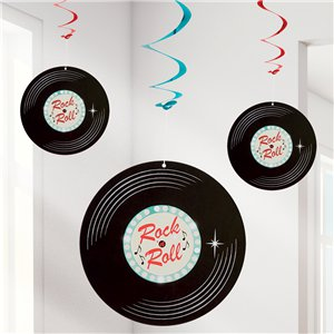 50s Classic Rock n Roll Hanging Swirls  - 85cm each