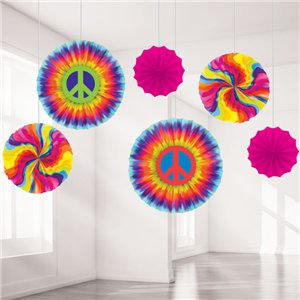 60s Feeling Groovy Paper Fan Decorations - 40cm