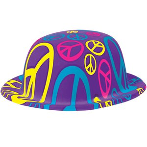 60s Feeling Groovy Peace Sign Bowler Hat