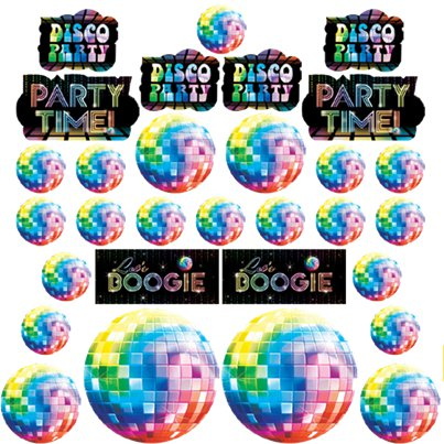 70s Disco Fever Cutout Decorations - 28cm