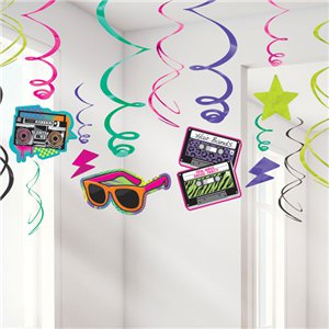 Totally 80s Hanging Swirls Decoration - 60cm
