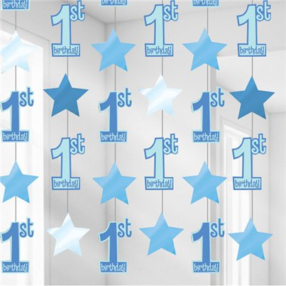 1st Birthday String Decoration Blue - 2m
