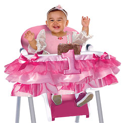 Girl's First Birthday Pink High Chair Decoration