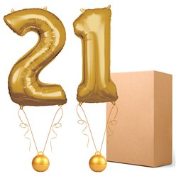 "21 Gold 26"" Number Balloons - Delivered Inflated"