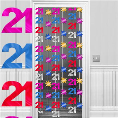 21st Birthday Multi Coloured Door Curtain - 2m