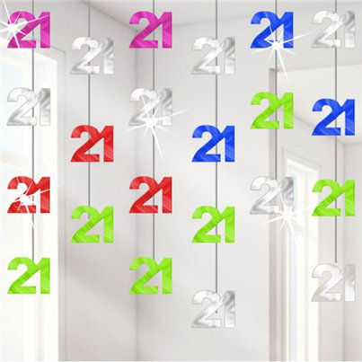 21st Birthday Multi Hanging String Decorations - 2m