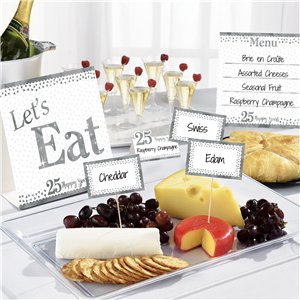 25th Silver Sparkling Wedding Anniversary Buffet Decorating Kit