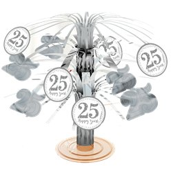 25th Silver Sparkling Wedding Anniversary Table Centrepiece