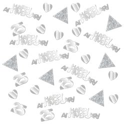 25th Silver Sparkling Wedding Anniversary Table/Invite Confetti