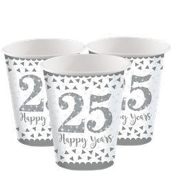25th Silver Sparkling Wedding Anniversary Cups - 266ml Paper Party Cups