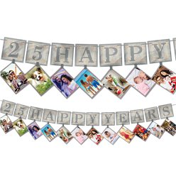 25th Silver Sparkling Wedding Anniversary Photo Garland - 3.65m