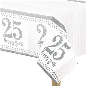 25th Silver Sparkling Wedding Anniversary Plastic Tablecover - 1.2m x 1.8m