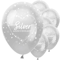 "25th Silver Wedding Anniversary Balloons - 12"" Latex"