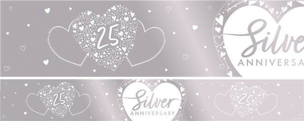 25th Silver Wedding Anniversary Foil Banner - 2.74m