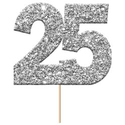 25th Silver Wedding Anniversary Glitter Cupcake Toppers