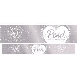 30th Pearl Wedding Anniversary Foil Banner - 2.7m