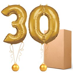 "30 Gold 26"" Number Balloons - Delivered Inflated"