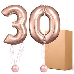 "30 Rose Copper 26"" Number Balloons - Delivered Inflated"