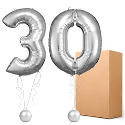 "30 Silver 26"" Number Balloons - Delivered Inflated"
