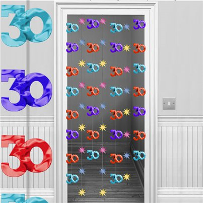 30th Multicoloured Door Curtain Decoration - 1.95m