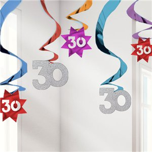 30th Birthday Hanging Swirls - 61cm Party Decorations