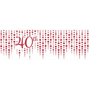 40th Ruby Sparkle & Shine Wedding Anniversary Giant Banner - 1.5m