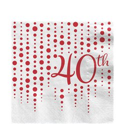 40th Ruby Sparkle & Shine Wedding Anniversary Napkins - 33cm