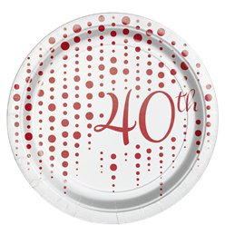 40th Ruby Sparkle & Shine Wedding Anniversary Plates - 17cm