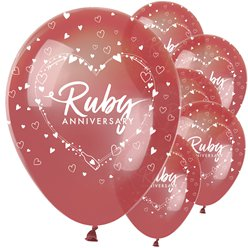 "40th Ruby Wedding Anniversary Balloons - 12"" Latex"