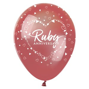 40th Ruby Wedding Anniversary Balloons - 12