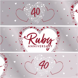 40th Ruby Wedding Anniversary Foil Banner - 2.74m