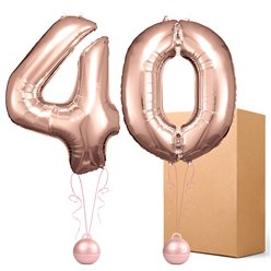 "40 Rose Copper 26"" Number Balloons - Delivered Inflated"