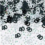 40th Birthday Black & Silver Table/Invite Confetti