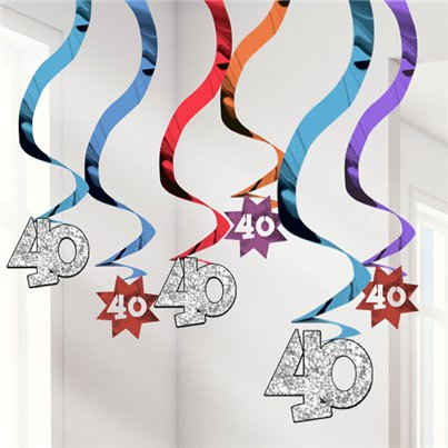 40th Birthday Hanging Swirls - 61cm Party Decorations