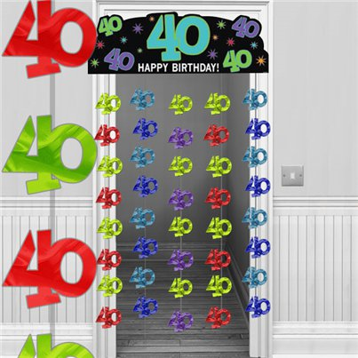 40th Multi-coloured Door Curtain Decoration - 1.95m