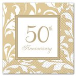 50th Anniversary Porcelain Luncheon Napkins - 2ply Paper