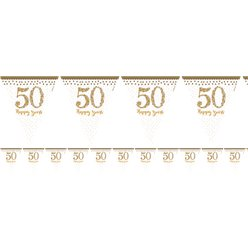 50th Gold Sparkling Wedding Anniversary Flag Bunting - 4m