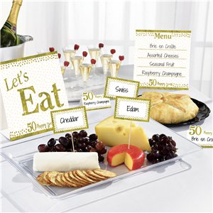 50th Gold Sparkling Wedding Anniversary Buffet Decorating Kit