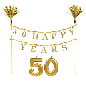 50th Gold Sparkling Wedding Anniversary Cake Decoration Kit