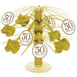50th Gold Sparkling Wedding Anniversary Table Centrepiece