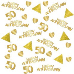 50th Gold Sparkling Wedding Anniversary Table/Invite Confetti
