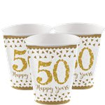 50th Gold Sparkling Wedding Anniversary Cups - 266ml Paper Party Cups