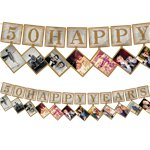 50th Gold Sparkling Wedding Anniversary Photo Garland