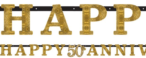 50th Gold Sparkling Wedding Anniversary Letter Banner
