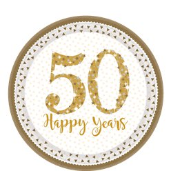 50th Gold Sparkling Wedding Anniversary Plates - 23cm Paper Plates